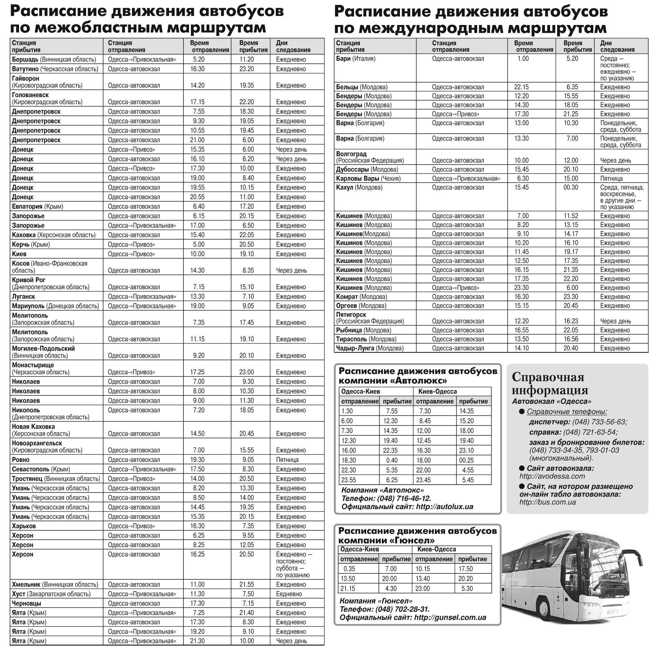 автобусы расписание одесса запорожье
